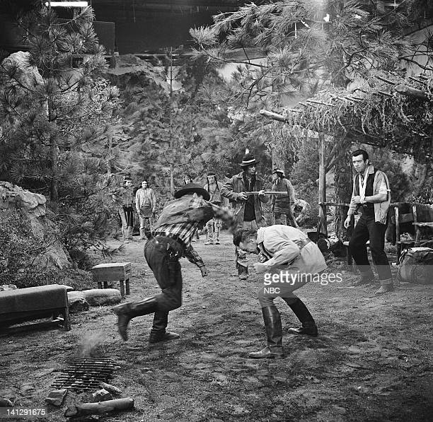 BONANZA 'The Last Trophy' Episode 27 Aired 3/26/1960 Pictured Bert Freed as Simon Belcher stunt double as Edward Ashley as Lord Marion Dunsford...