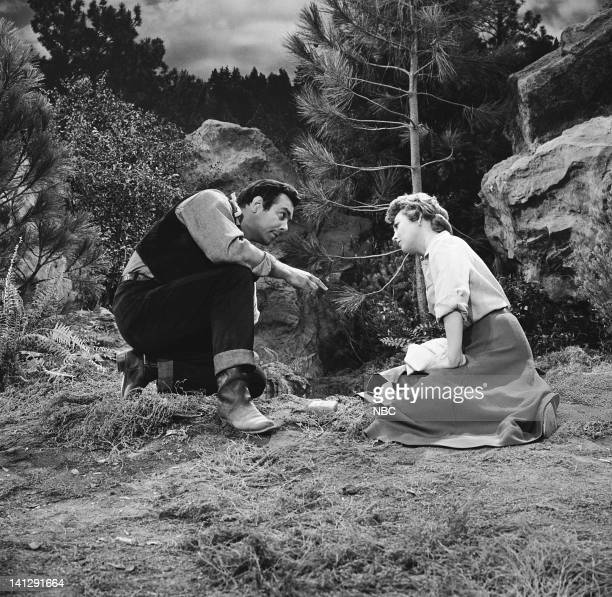 BONANZA 'The Last Trophy' Episode 27 Aired 3/26/1960 Pictured Pernell Roberts as Adam Cartwright Hazel Court as Lady Beatrice Dunsford Photo by NBCU...