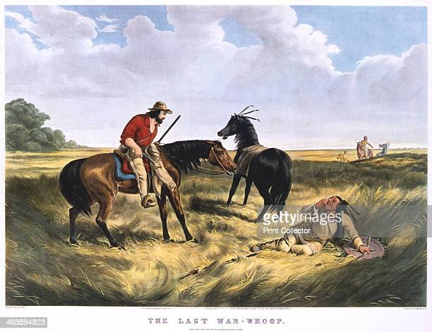 'The Last WarWhoop' 18341907 A dying Native American warrior giving his last war cry watched by a settler he has wounded Print published by Currier...