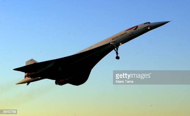 The lastever Concorde passenger flight takes off from John F Kennedy International Airport en route to London October 24 2003 in New York City...