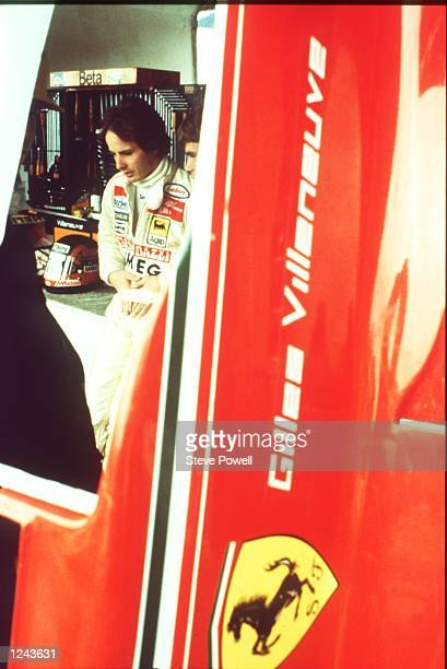 The late Gilles Villeneuve the legendary French Candian driver seen here talking to the Ferrari team Gilles Villeneuve was killed at Zolder in 1982...