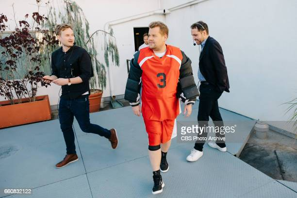 The Late Late Show with James Corden airing Monday March 27 with guests JJ Redick Scott Bakula and Pete Holmes Pictured Dave Piendak James Corden and...