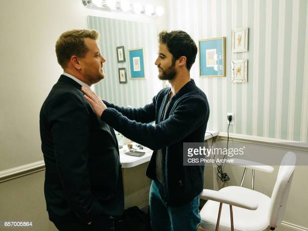 The Late Late Show with James Corden airing Tuesday March 21 with guests Allison Williams Darren Criss and The Band Perry Pictured James Corden and...