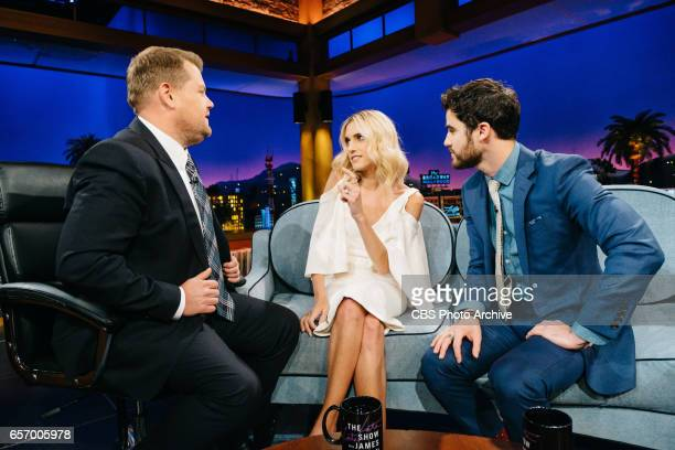 The Late Late Show with James Corden airing Tuesday March 21 with guests Allison Williams Darren Criss and The Band Perry