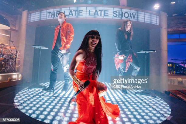 The Late Late Show with James Corden airing Tuesday March 21 with guests Allison Williams Darren Criss and The Band Perry Pictured The Band Perry