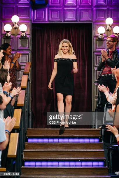 The Late Late Show with James Corden airing Tuesday March 28 with guests Kristen Bell and Cheryl Hines Pictured Kristen Bell