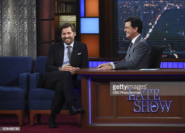 The Late Show with host Stephen Colbert talks with Nikolaj CosterWaldau on Friday April 22 2016