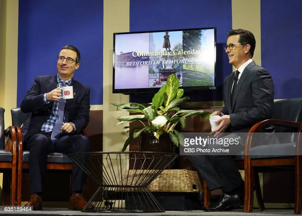 The Late Show with Stephen Colbert airing Tuesday Feb 7 2017 with John Oliver Actress Isabelle Huppert musical performance by The Avett Brothers...