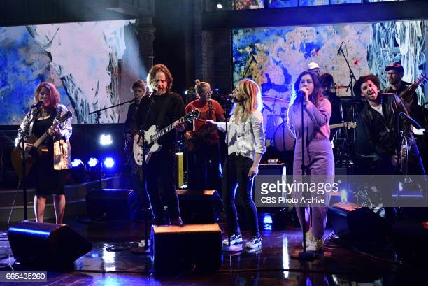 The Late Show with Stephen Colbert airing Tuesday March 30 2017 with Marisa Tomei Hugh Dancy musical performance by Broken Social Scene