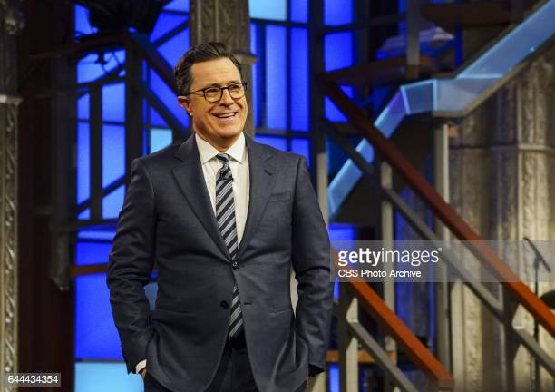 The Late Show with Stephen Colbert airing Wednesday Feb 15 2017 with Bob Odenkirk Tatiana Maslany and George Saunders Pictured Stephen Colbert