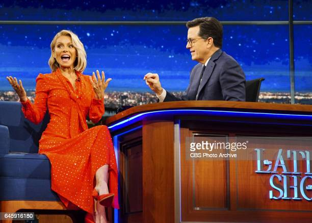 The Late Show with Stephen Colbert airing Wednesday Feb 22 2017 with Kelly Ripa Billy Gardell and The Lemon Twigs Pictured LR Kelly Ripa and Stephen...