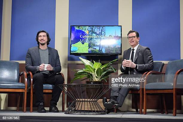 The Late Show with Stephen Colbert and guest Adam Driver during Thursday's 01/05/16 show in New York