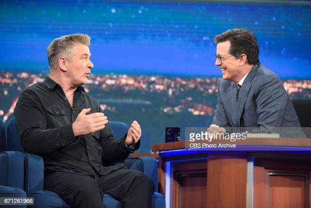 The Late Show with Stephen Colbert and guest Alec Baldwin during Tuesday's 04/18/17 show in New York