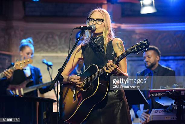 The Late Show with Stephen Colbert and guest Amiee Mann during Friday's 10/28/16 show in New York