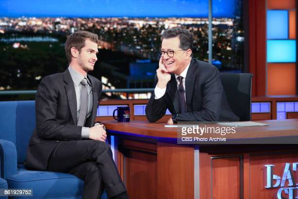 The Late Show with Stephen Colbert and guest Andrew Garfield during Wednesday's October 11 2017 show