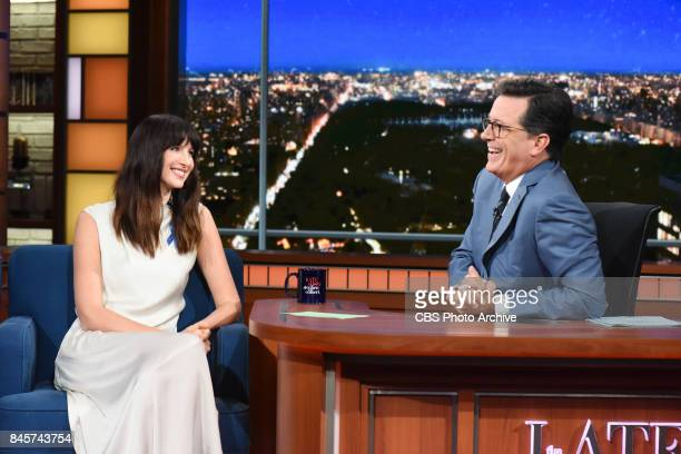 The Late Show with Stephen Colbert and guest Caitriona Balfe during Thursday's September 7 2017 show