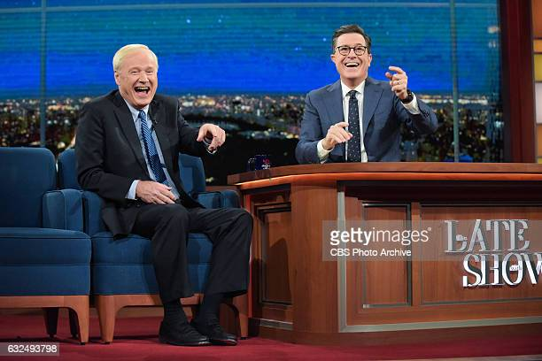The Late Show with Stephen Colbert and guest Chris Matthews during Thursday's 01/19/16 show in New York