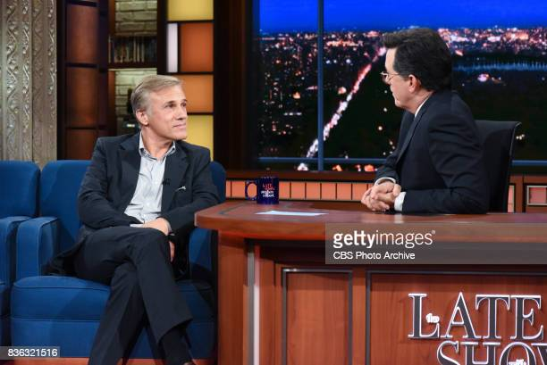 The Late Show with Stephen Colbert and guest Christoph Waltz during Tuesday's August 8 2017 show