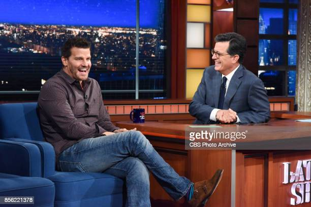 The Late Show with Stephen Colbert and guest David Boreanaz during Tuesday's September 26 2017 show