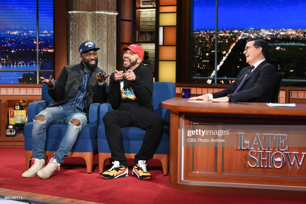The Late Show with Stephen Colbert and guest Desus & Mero during Tuesday's November 20, 2017 show.