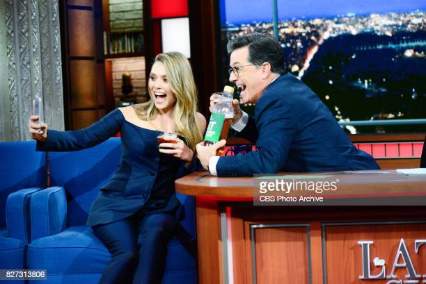 The Late Show with Stephen Colbert and guest Elizabeth Olsen during Thursday's August 3 2017 show