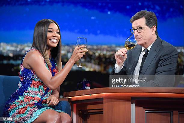 The Late Show with Stephen Colbert and guest Gabrielle Union during Wednesday's 01/11/16 show in New York