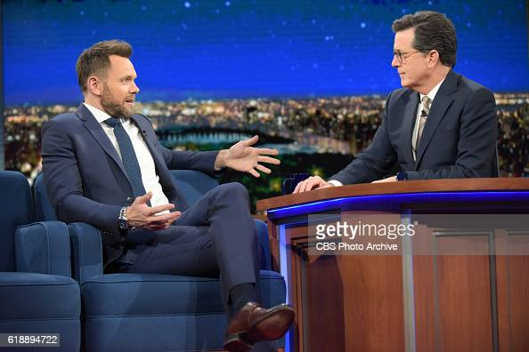 The Late Show with Stephen Colbert and guest Joel McHale during Wednesday's 10/26/16 show in New York