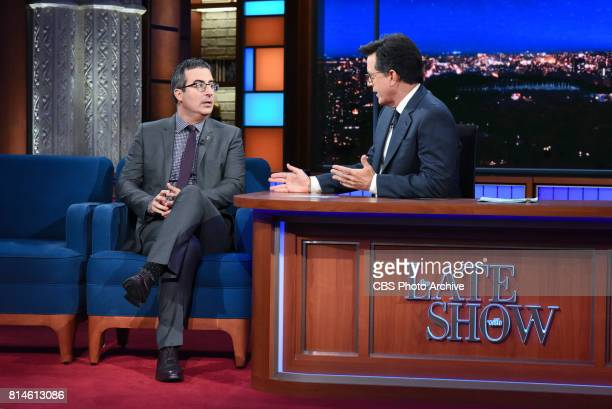 The Late Show with Stephen Colbert and guest John Oliver during Wednesday's July 12 2017 show