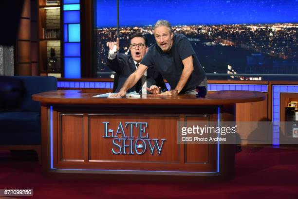 The Late Show with Stephen Colbert and guest Jon Stewart during Wednesday's November 8 2017 show