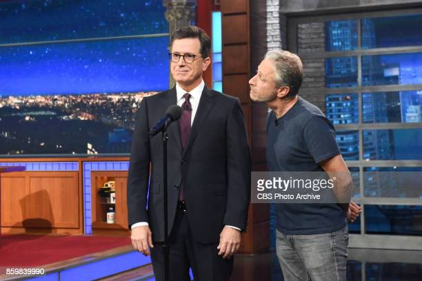 The Late Show with Stephen Colbert and guest Jon Stewart during Monday's October 9 2017 show