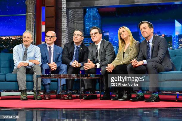 The Late Show with Stephen Colbert and guest Jon Stewart Samantha Bee John Oliver Ed Helms and Rob Corddry during Tuesday's May 9 2017 show