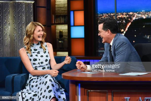The Late Show with Stephen Colbert and guest Laura Dern during Monday's August 7 2017 show