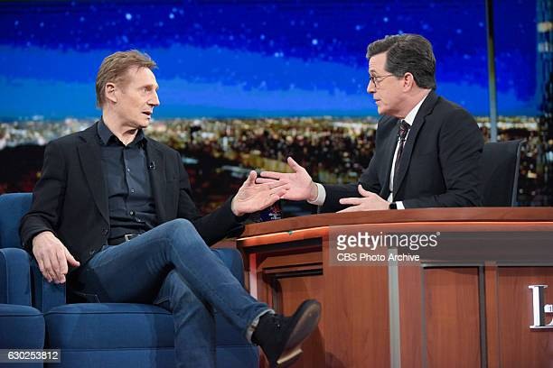 The Late Show with Stephen Colbert and guest Liam Neeson during Friday's 12/16/16 show in New York