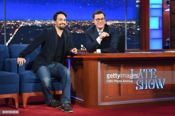The Late Show with Stephen Colbert and guest LinManuel Miranda during Thursday's October 5 2017 show