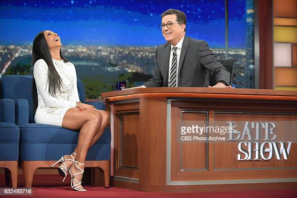 The Late Show with Stephen Colbert and guest Mel B during Tuesday's 01/17/16 show in New York