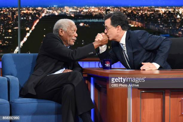 The Late Show with Stephen Colbert and guest Morgan Freeman during Thursday's October 5 2017 show