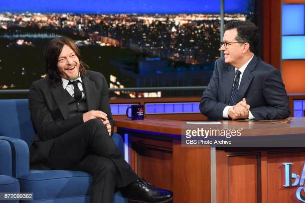 The Late Show with Stephen Colbert and guest Norman Reedus during Wednesday's November 8 2017 show