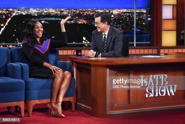 The Late Show with Stephen Colbert and guest Tiffany Haddish during Tuesday's August 15 2017 show