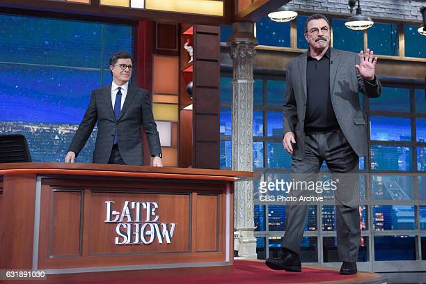 The Late Show with Stephen Colbert and guest Tom Selleck during Thursday's 01/12/16 show in New York