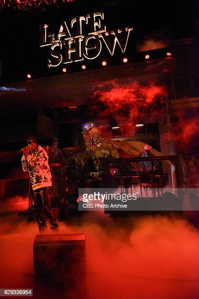 The Late Show with Stephen Colbert and guest Travis Scott during Thursday's 12/08/16 show in New York