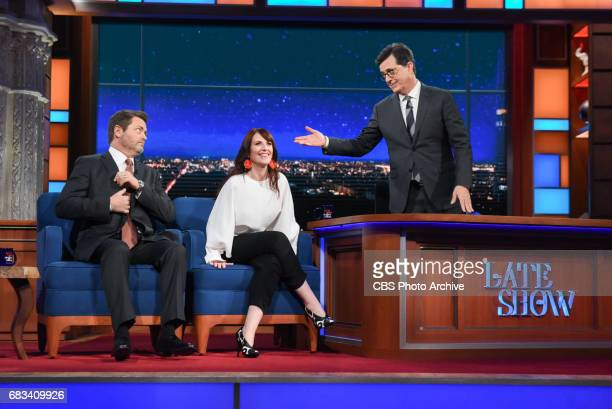 The Late Show with Stephen Colbert and guests Nick Offerman Megan Mullally during Wednesday's May 10 2017 show