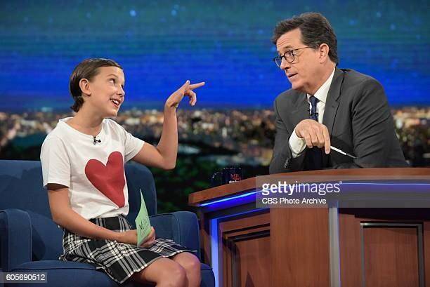 The Late Show With Stephen Colbert Stephen Colbert during Tuesday's 9/13/16 show in New York With guest Millie Bobby Brown