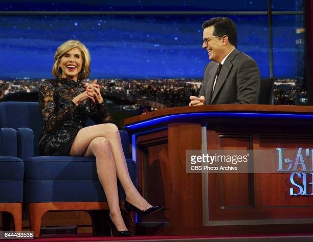 The Late Show with Stephen Colbert with guest star actress Christine Baranski from the CBS All Access drama series THE GOOD FIGHT and musical...