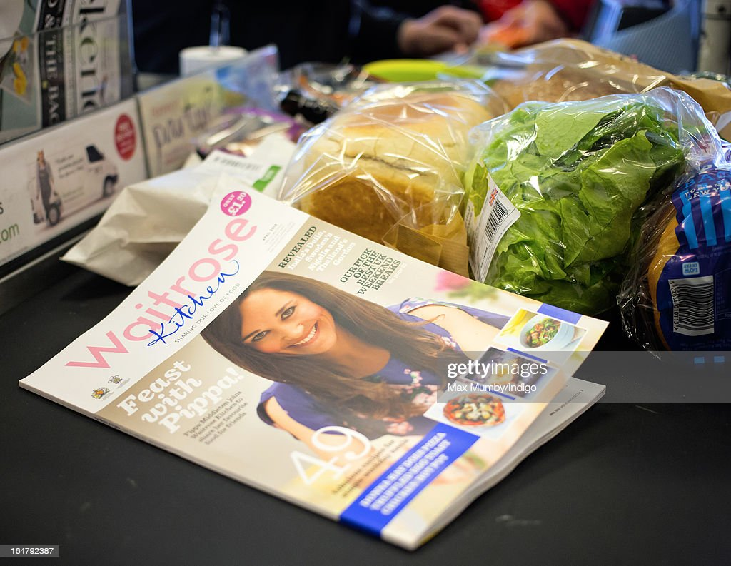 The latest edition of Waitrose Kitchen Magazine, featuring Pippa Middleton on the cover, seen on a till conveyor belt in a Waitrose store on March 28, 2013 in Horley, England. Pippa Middleton, sister of Catherine, Duchess of Cambridge is writing a monthly column for the magazine featuring casual dining ideas and recipes.