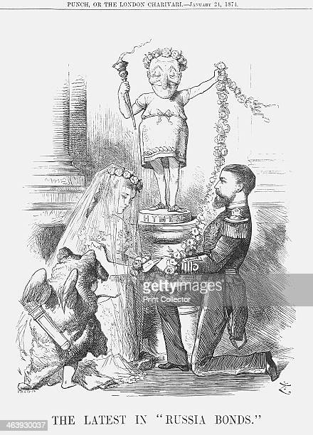 'The Latest in Russia Bonds' 1874 Mr Punch trailing a garland of roses stands atop a pedestal labelled Hymen In the foreground Cupid wears the skin...