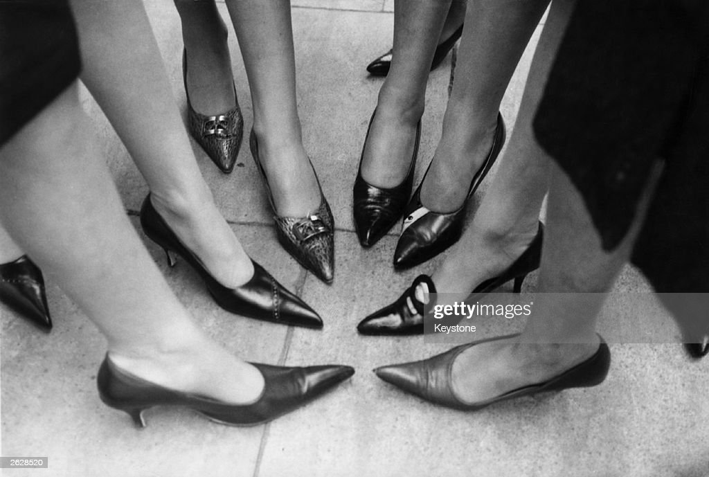 The latest in teenage fashion; the long pointed shoe, or winkle-picker stiletto.