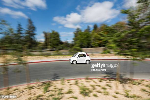 The latest version of Google's self driving car is tested outside the Google X labs in Mountain View CA The podlike twoseater has no gas pedal and a...