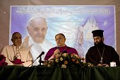 The Latin Patriarch of Jerusalem and Head of the Roman Catholic Church in the Holy Land Fuad Twal speaks during a press conference in the northern...