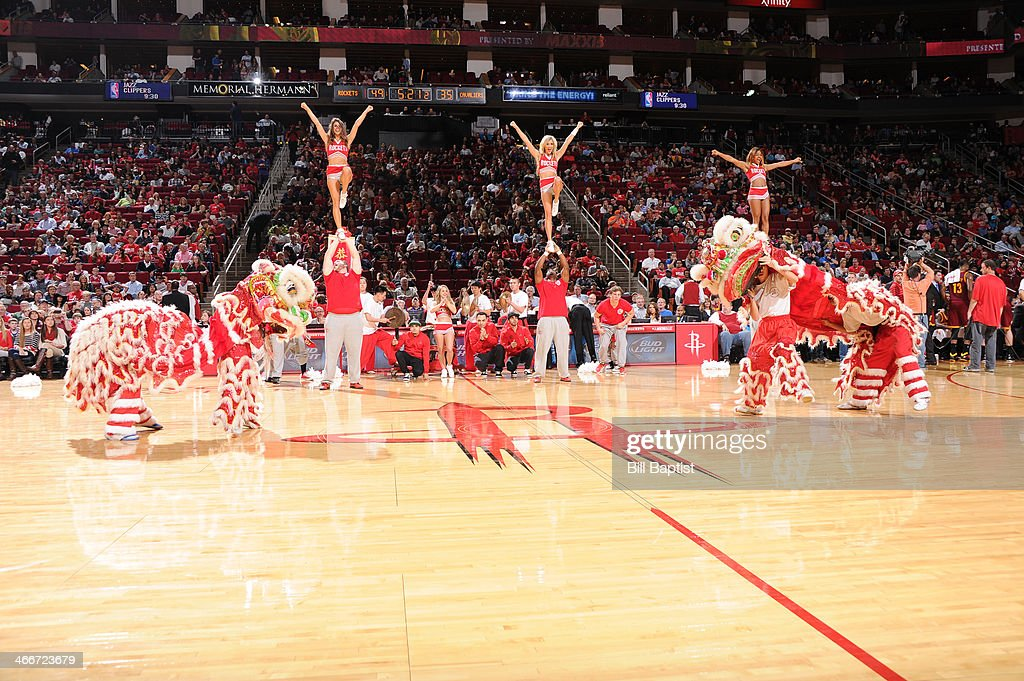 The Launch Crew of the Houston Rockets performs during the game against the Cleveland Cavaliers on February 1, 2014 at the Toyota Center in Houston, Texas.
