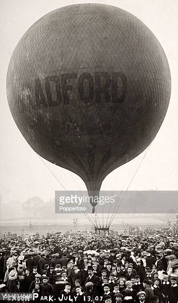The launch of a hotair balloon at Yeadon Park in Yorkshire on 13 July 1907